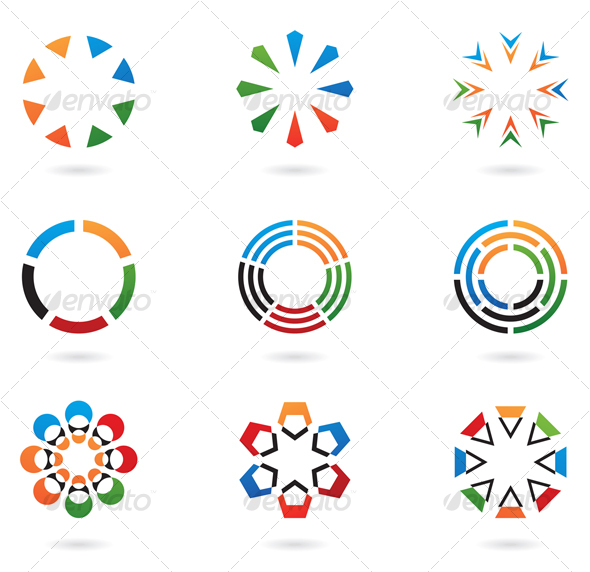 Colourful Abstract Icons and Design Elements - Abstract Icons