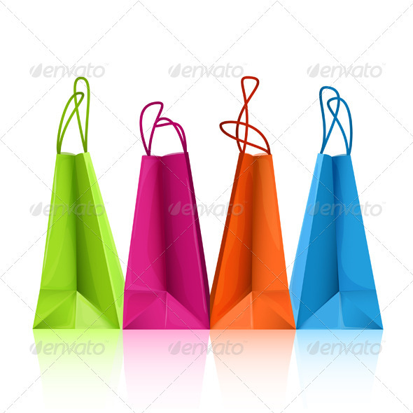 Vector colorful shopping bags - Man-made Objects Objects