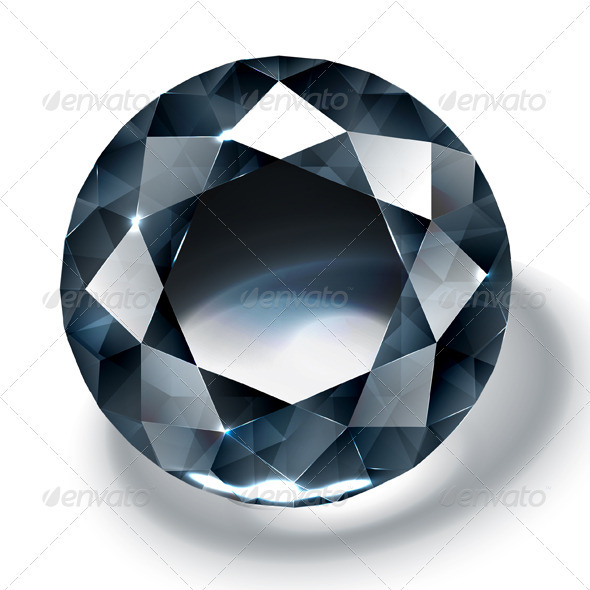 Black diamond isolated on white - Man-made Objects Objects