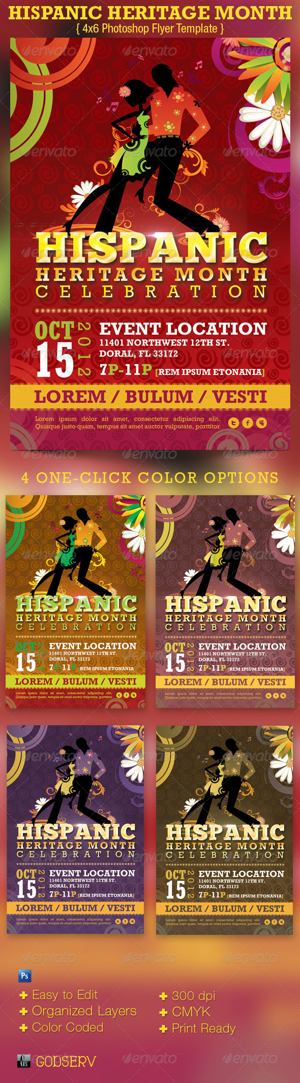 Hispanic Heritage Month Event Flyer Template - Events Flyers