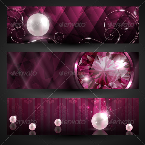 Jewellery banners set - Backgrounds Decorative