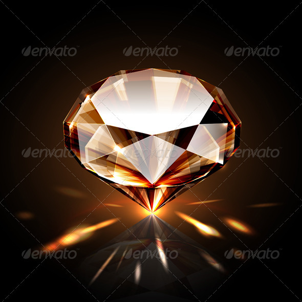 Amber colored diamond - Man-made Objects Objects