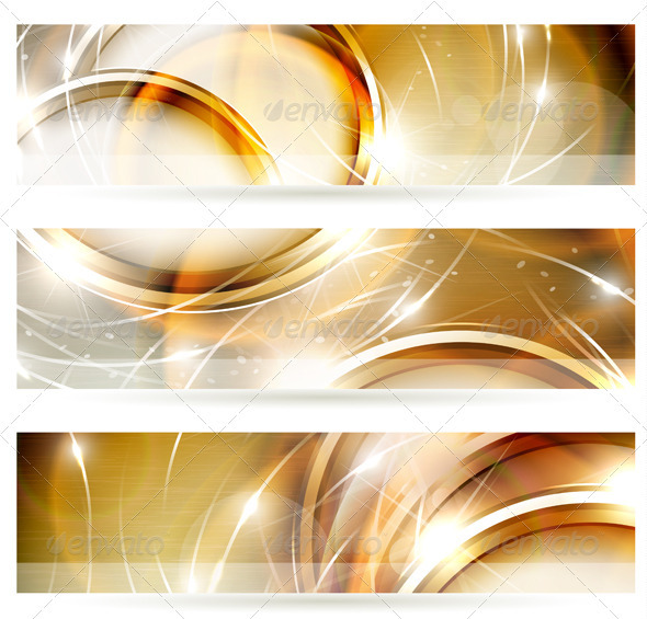 Abstract golden banners set - Backgrounds Decorative