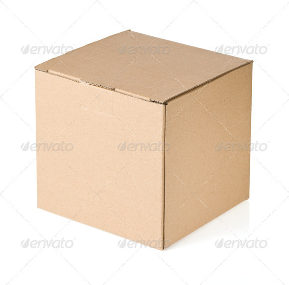 cardboard box isolated on white - Stock Photo - Images