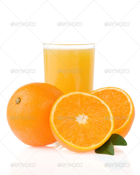 juice and oranges on white - Stock Photo - Images