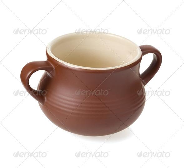 ceramic pot isolated on white - Stock Photo - Images