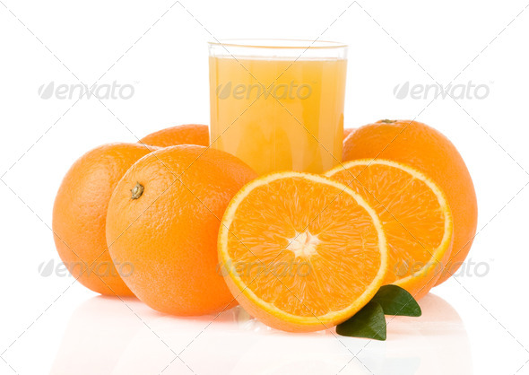 juice and orange fruit on white - Stock Photo - Images