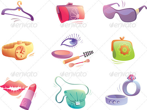 Fashion Accessories Set  - Objects Vectors