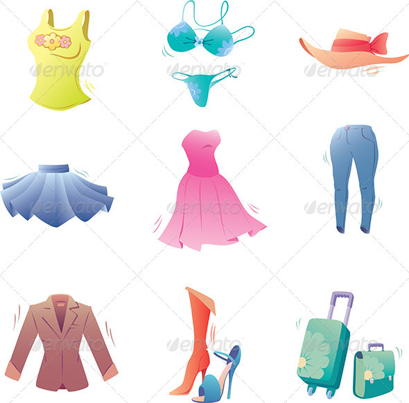 Fashion Clothes Set - Objects Vectors