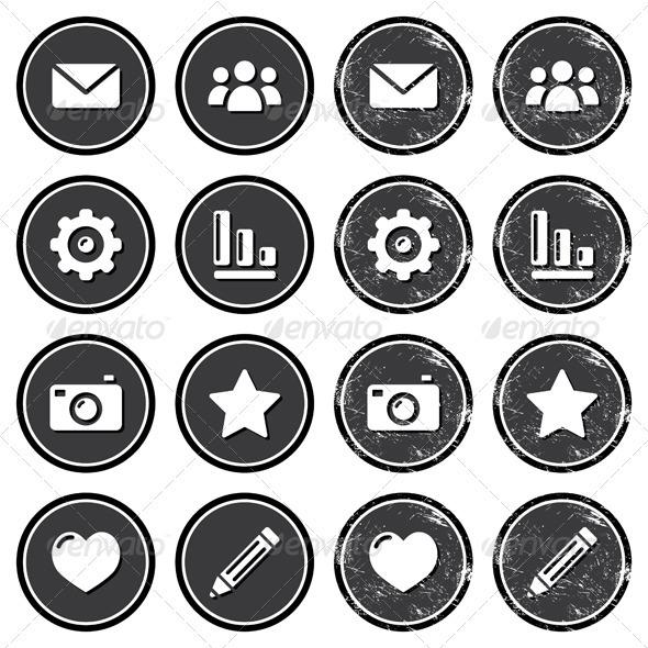 Website menu navigation retro grunge labels   - Web Elements Vectors
