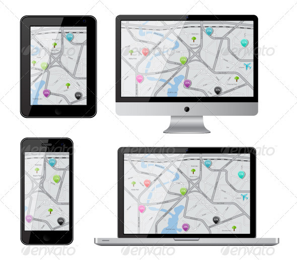 Isolated gadgets with street map - Computers Technology