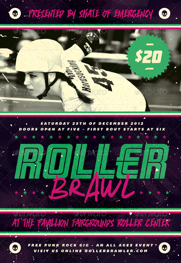 Roller Brawl - Roller Derby Flyer Template - Sports Events