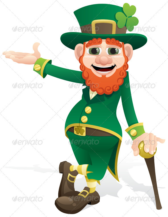 Leprechaun Presenting - People Characters
