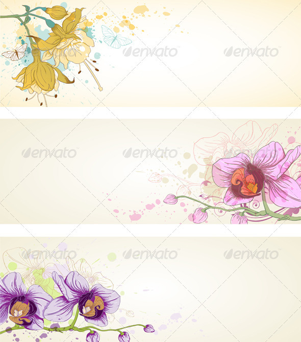 Floral Banners with Orchids - Backgrounds Decorative