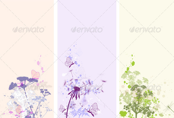 Floral Grunge Banners - Backgrounds Decorative