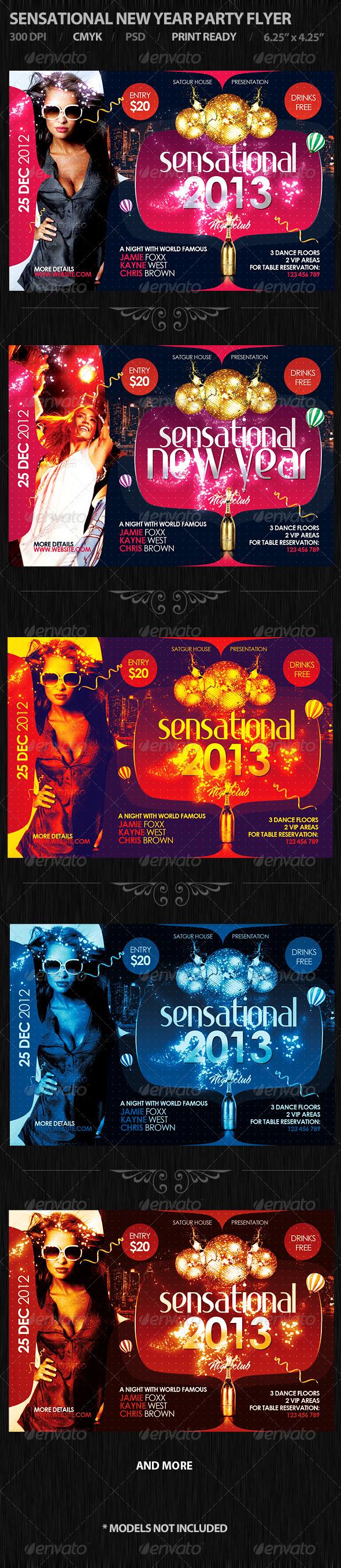 Sensational New Year Party Flyer - Flyers Print Templates