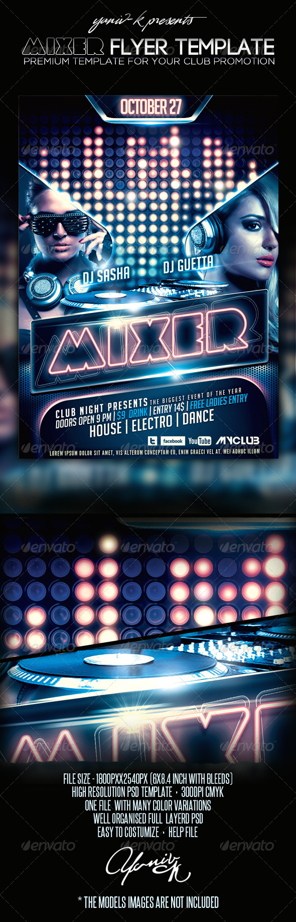 Mixer Flyer Template - Clubs & Parties Events