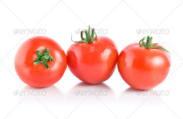 Three mellow red tomatoes - Stock Photo - Images