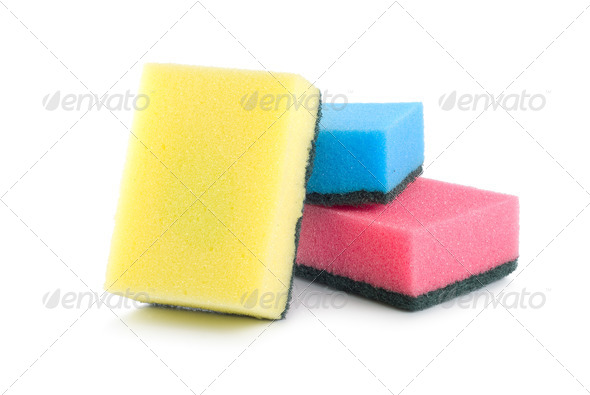 Three colored sponges isolated - Stock Photo - Images