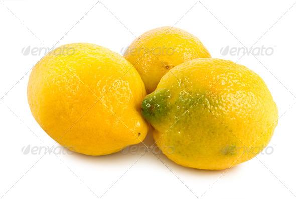 Three lemons isolated on a white - Stock Photo - Images