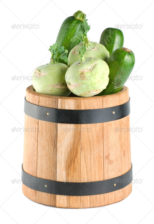 Vegetables in a wooden barrel - Stock Photo - Images