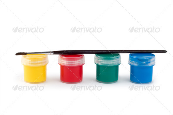 Gouache paint cans and brush - Stock Photo - Images