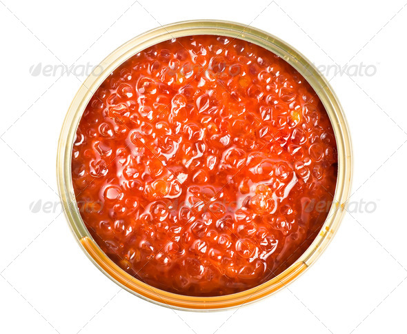 Red caviar in tin - Stock Photo - Images