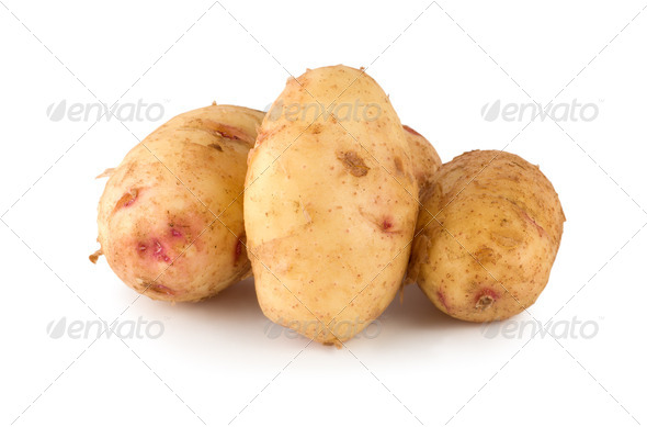 Raw potato isolated on a white - Stock Photo - Images