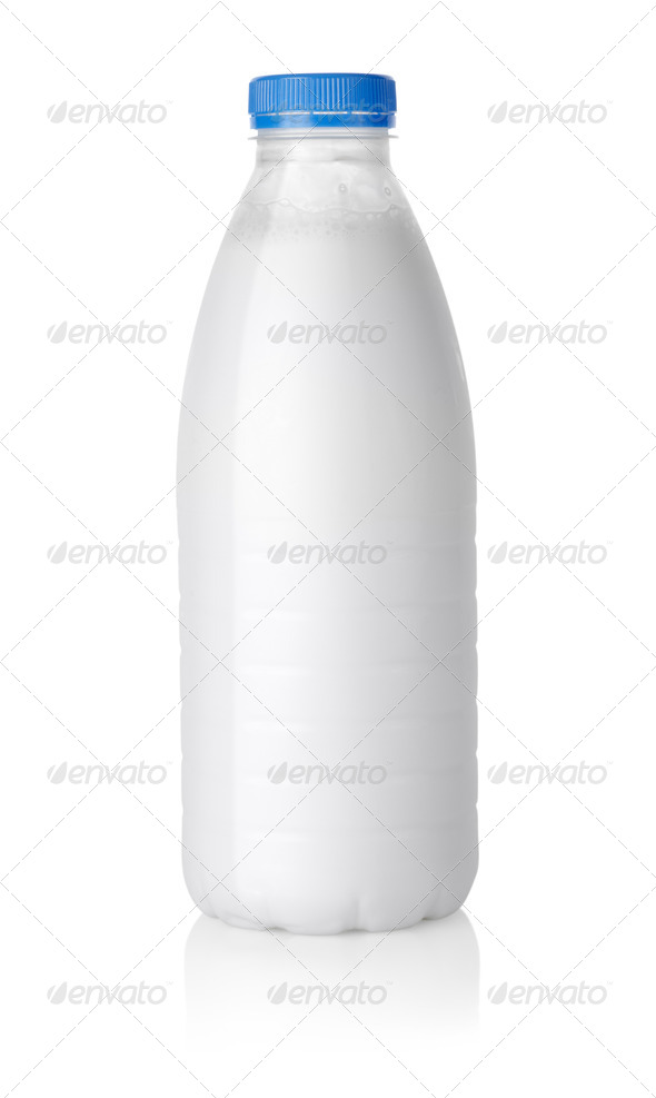 Plastic bottle of milk Path - Stock Photo - Images