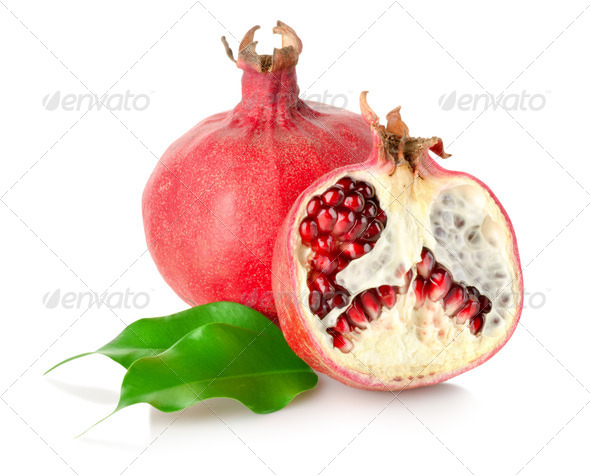 Pomegranate with leaves - Stock Photo - Images