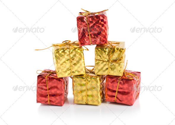 Colorful gift boxes isolated - Stock Photo - Images