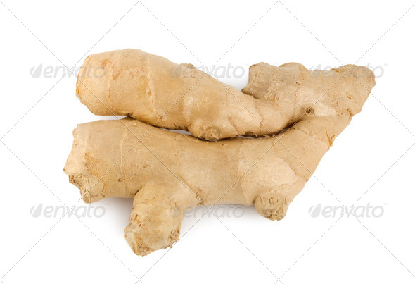 Ginger root isolated on a white - Stock Photo - Images