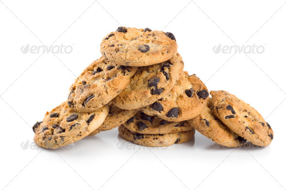 Stack of chocolate chip cookies isolated - Stock Photo - Images