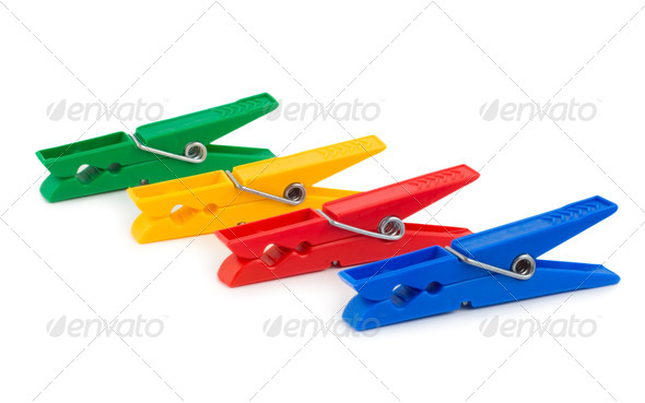Coloured clothespins - Stock Photo - Images