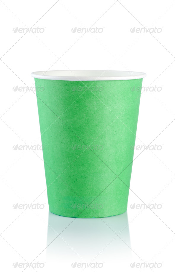 Green disposable cup - Stock Photo - Images