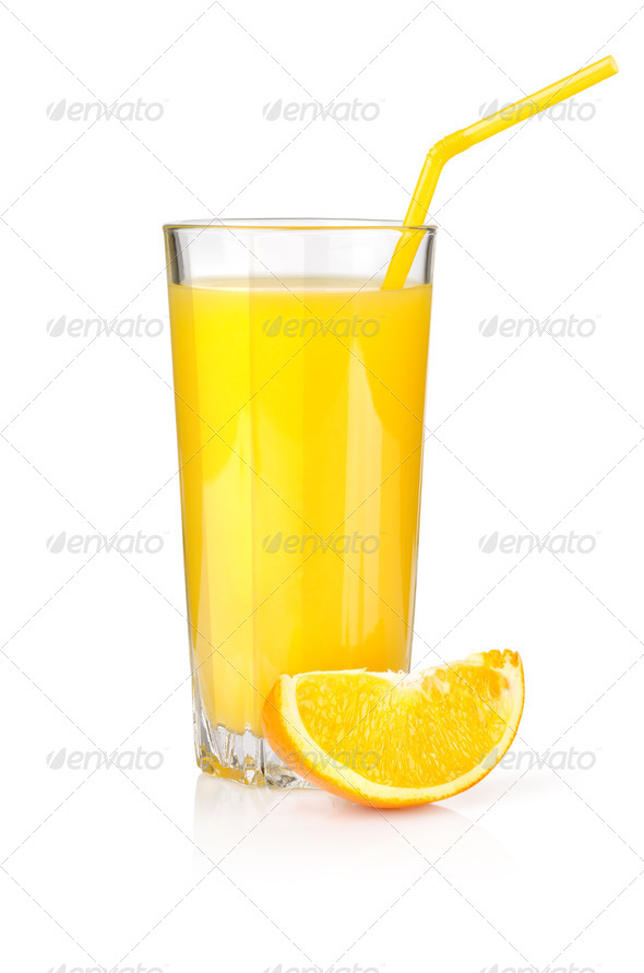 Orange juice in a glass isolated on a white - Stock Photo - Images