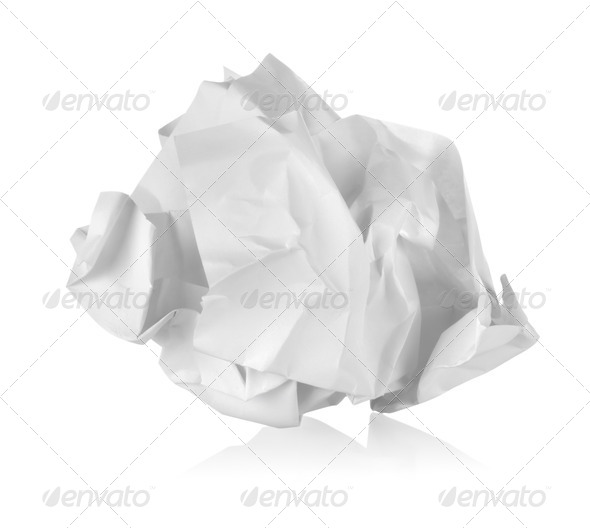 Crumpled paper isolated - Stock Photo - Images