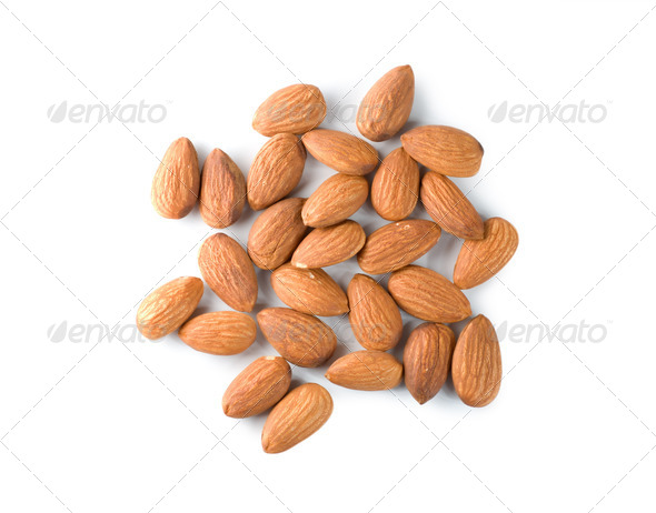 Handful almond isolated - Stock Photo - Images
