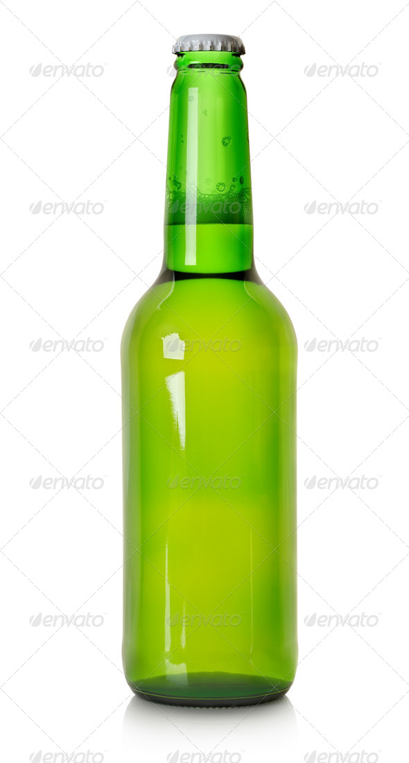 Beer in a green bottle isolated - Stock Photo - Images