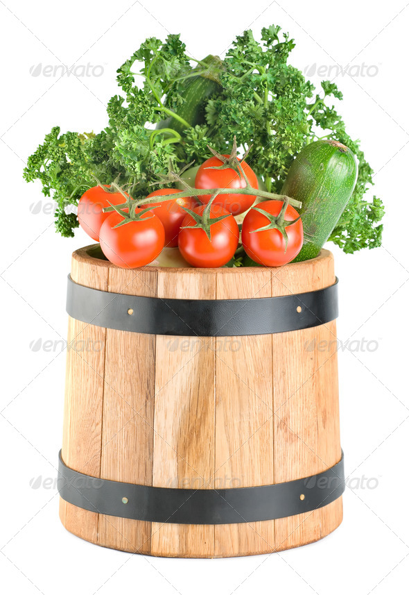 Barrel with vegetables - Stock Photo - Images
