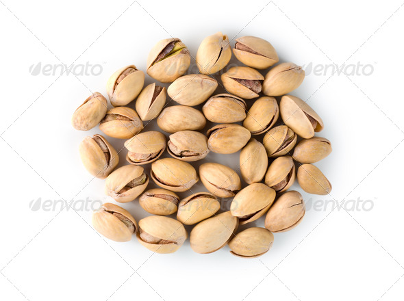 Pistachios on a white - Stock Photo - Images