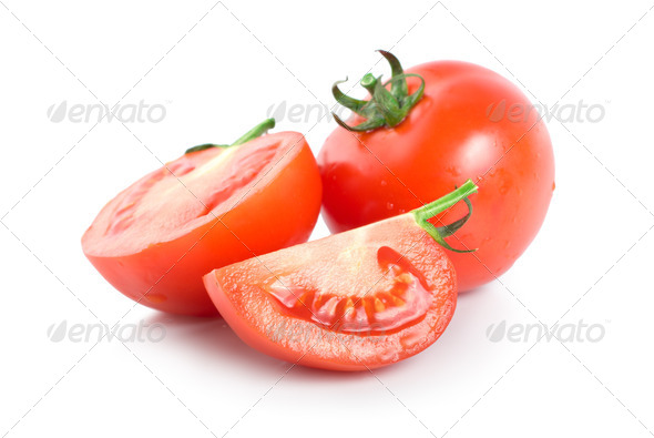 Three raw red tomatoes - Stock Photo - Images