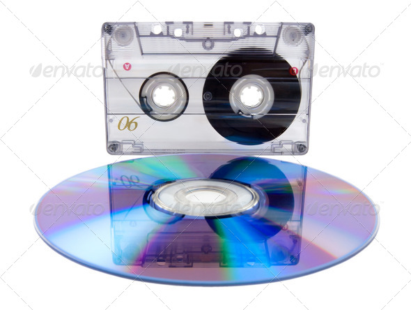 Audio tape cassette and digital compact disc - Stock Photo - Images