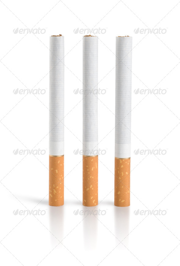 Three cigarettes Isolated (Path) - Stock Photo - Images