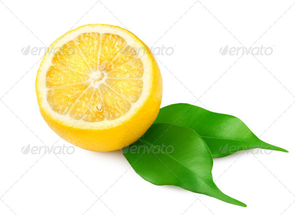 Lemon with leaves - Stock Photo - Images