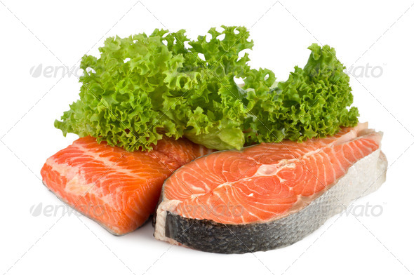 Raw salmon and lettuce - Stock Photo - Images