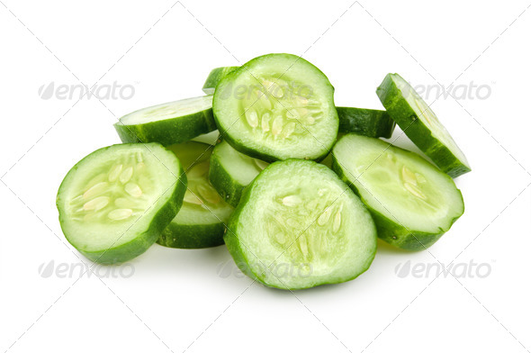 Cut cucumber isolated - Stock Photo - Images
