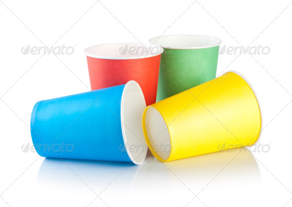 Disposable cups isolated - Stock Photo - Images
