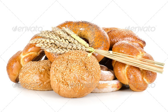 Collection of different breads isolated - Stock Photo - Images