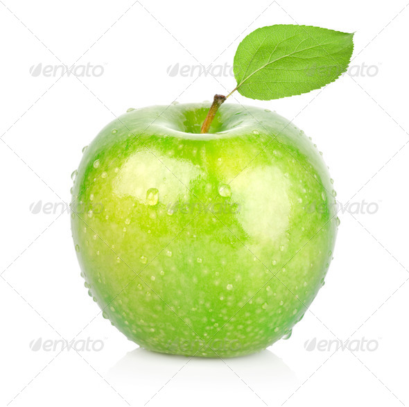Green apple with a leaf - Stock Photo - Images